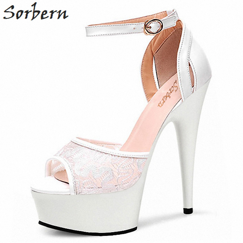 Sorbern Lace Women Sandal Ankle Strap Open Toe Shoes Women Summer High Heels Platform Sandals Woman Shoes Ladies Sandals girls dress summer girl floral princess party dresses children clothing wedding tutu baby girl clothes 2 3 4 5 6 7 8 9 10 years