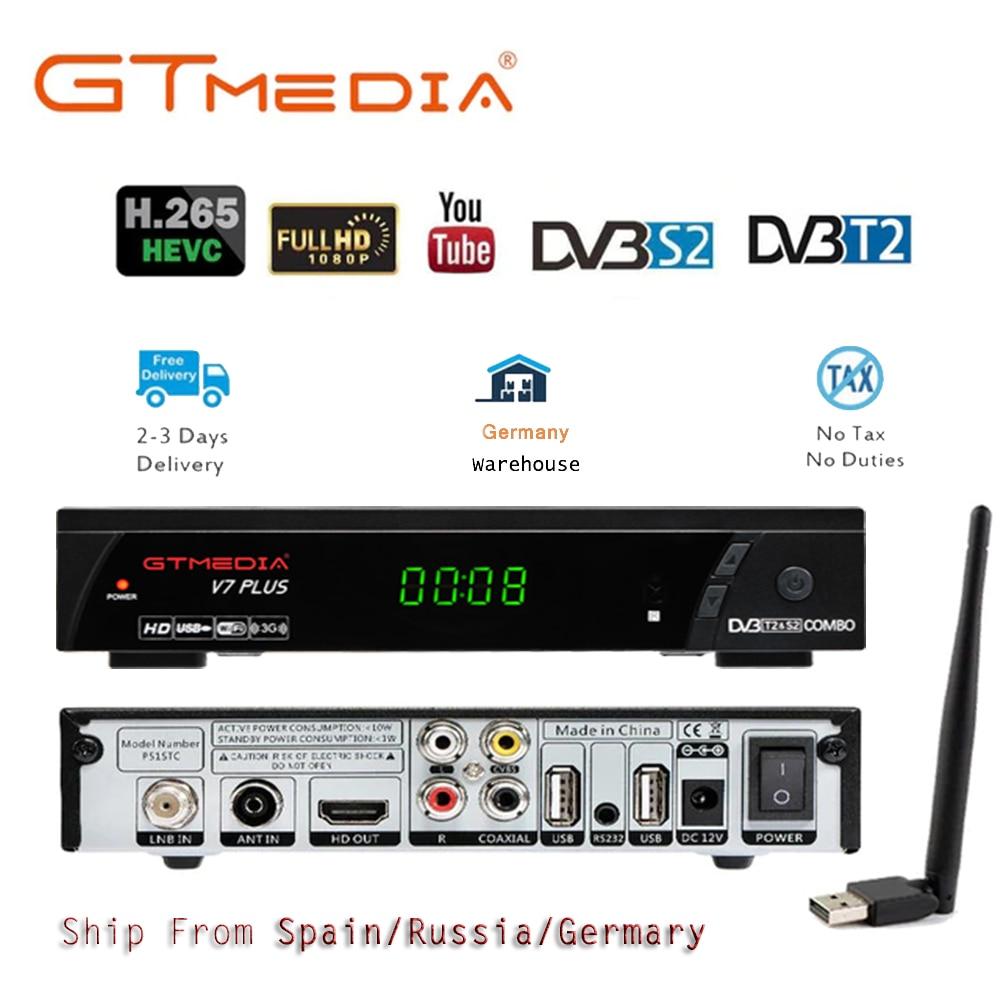 GTmedia V7 PLUS Full HD Satellite Receiver Combo DVB-S/S2+T/T2 Support H.265 Newcam powerVU Bisskey vs Freesat V7 V8 +USB WIFI