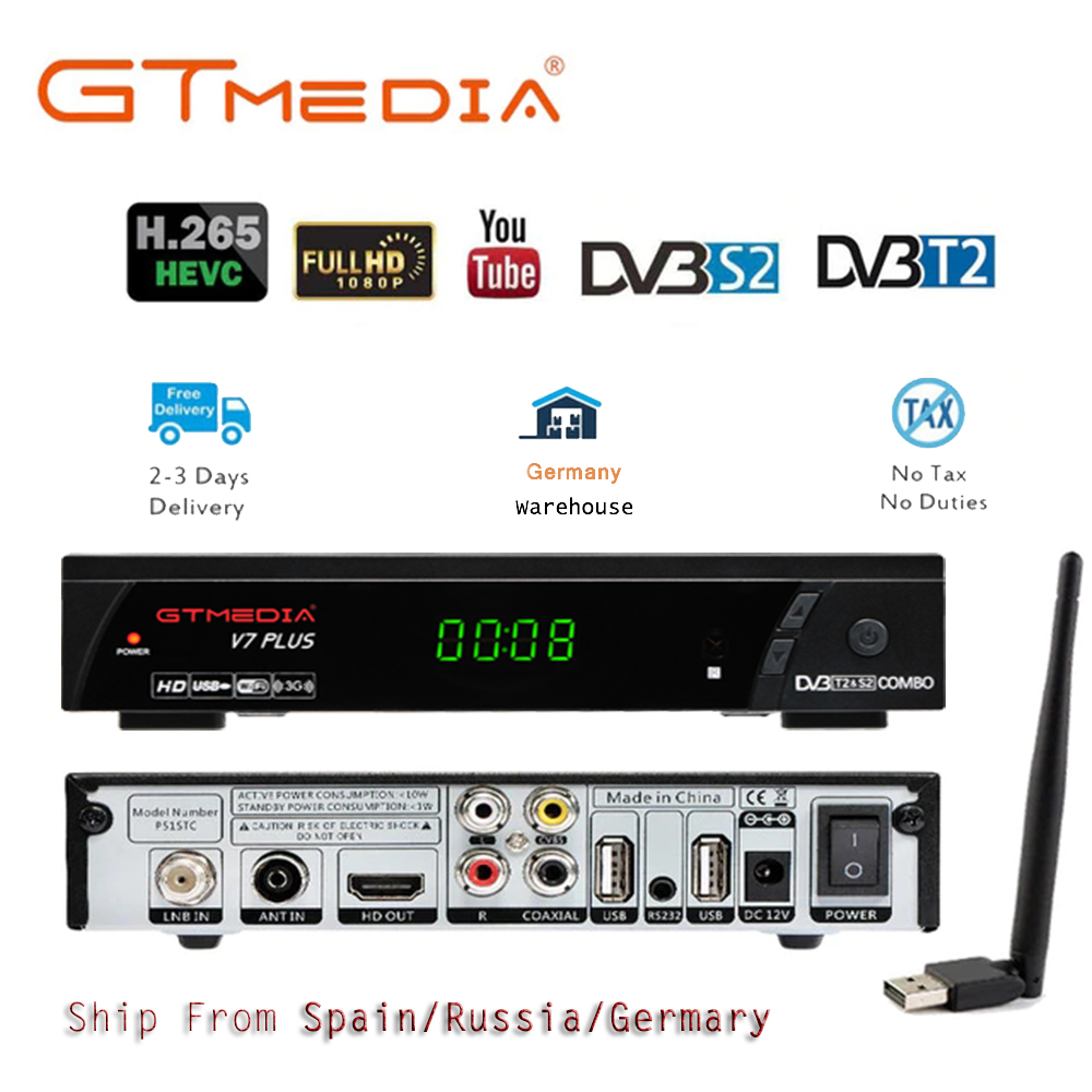 TV box DVB T2 GTmedia V7 PLUS TV Terrestrial Receiver DVB S/S2+T/T2 H.265 Support HDMI Set Top Box For Europe/Russian/Columbia-in Satellite TV Receiver from Consumer Electronics