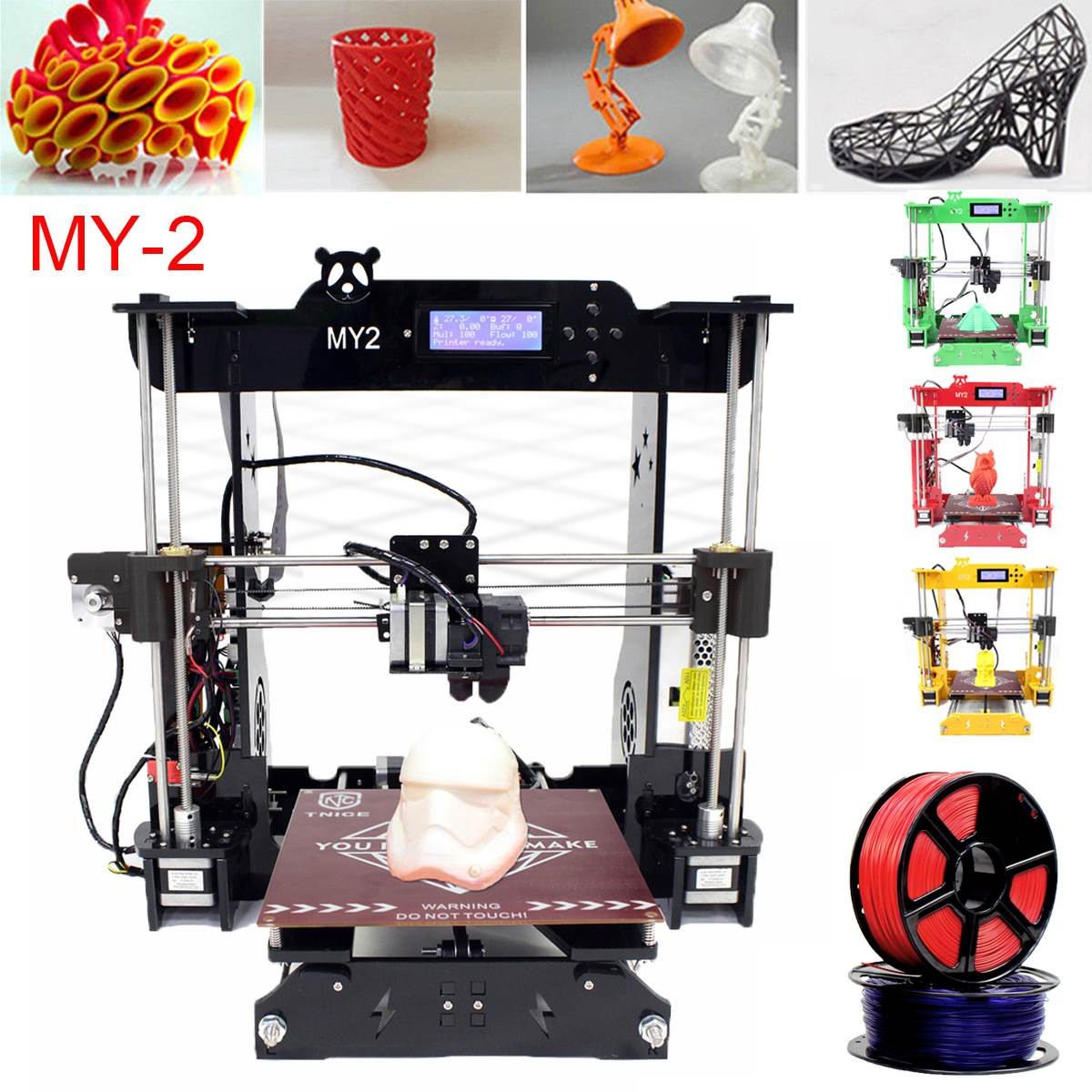 MY-2 DIY 3D Printer Kit Large Printing Area 3D Printing Convenient Easy Printer Black/Red/Green/Yellow