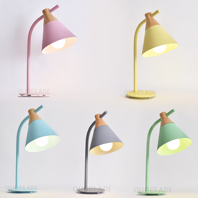 Modern Nordic wood iron lampshade Table Lamps/Floor Lamps creative bedroom living room bedside macaron series lamps modern macaron floor lights for living room bedroom loft standing lamps green yellow pink iron lampshade decor home lighting e27