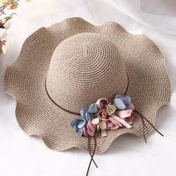 Ymsaid 여름 모자 여성 2018 큰 가장자리 태양 모자 여성 여름 태양 꽃 물결 모양의 가장자리 세련된 여행 비치 모자