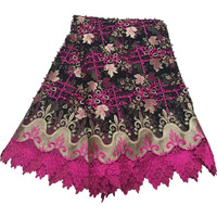 HFX Guipure Fringe Design Nigeria Laces 5 Yards High Quality Pink/Gold African Beaded Tulle Lace Wedding Fabric For Women X853 2