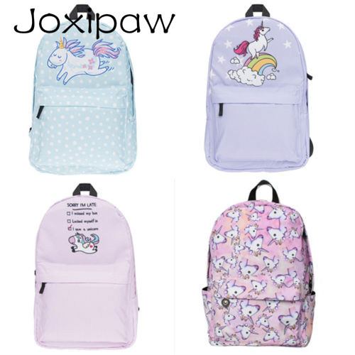 Multi Colour Unicorn Rainbow girls backpack Fantasy teenager School bag Student Travel backpack Joxipaw
