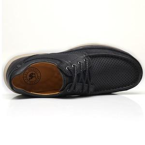 Image 5 - DEVE Hakiki Deri erkek ayakkabıları İlkbahar Yaz Yumuşak Inek Derisi erkek Loaferlar Hafif Nefes Delik Erkekler rahat ayakkabılar