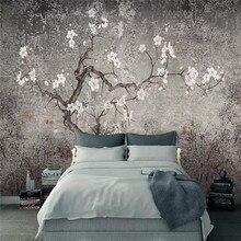 Пользовательские 3d Обои фреска-цветок сливы ручная роспись цветы и птицы гостиная спальня фон украшение стены