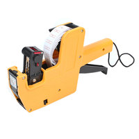 UXCELL Hand Held Plastic 8 Digits Price Labeller Label Tag Gun Yellow Black