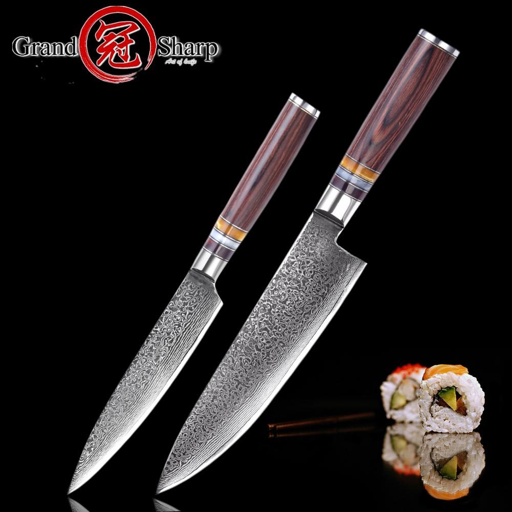 2 stuks Damascus Mes Set Chef Keuken Mes Japanse Damascus High Carbon Rvs vg10 Pakka Hout Gereedschap Messen-in Messenset van Huis & Tuin op  Groep 1