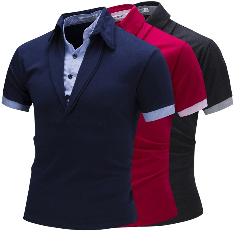 Men's Fashion Menswear Striped Men's   polo   Shirt Two Pieces Cotta