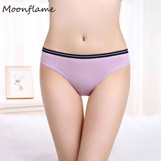 Moonflme 3 pcs/lots New Arrival 2019 Cotton Solid Color Women Briefs Panties