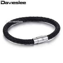 Davieslee Mens Bracelet Black Rope Man-made Leather Stainless Steel Magnetic Clasp Surf Fashion Jewelry 6mm LLB602