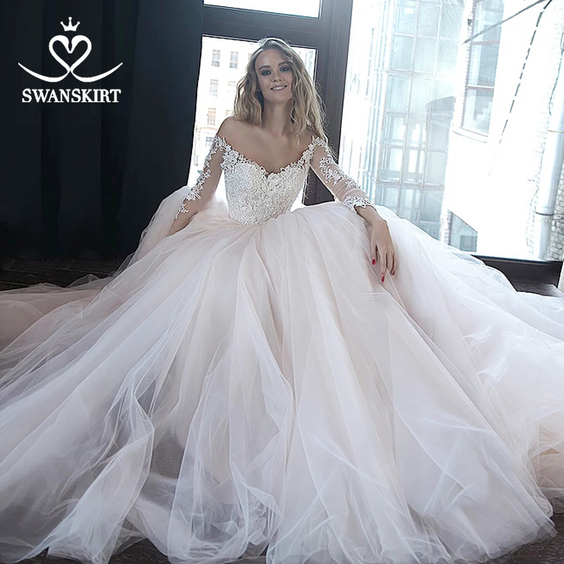 Appliques Ball Gown Wedding Dress 2019 Swanskirt Sweetheart Long Sleeve Bridal Gown Fashion Court Train Vestido De Novia HZ14