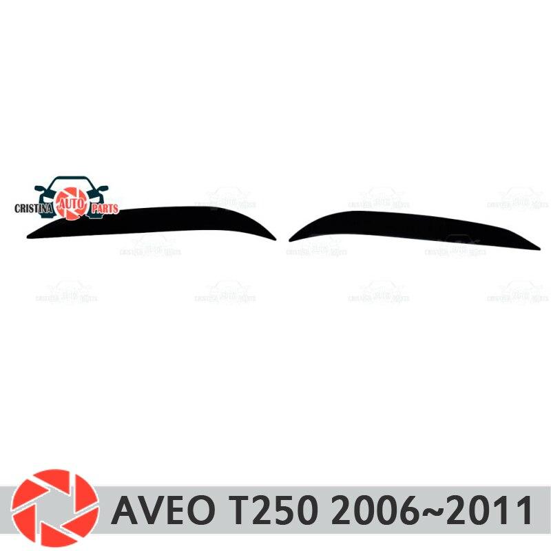 Sobrancelhas para Chevrolet Aveo T250 2006 ~ 2011 para faróis cílios cílios de plástico molduras decoração estilo do carro guarnição de moldagem