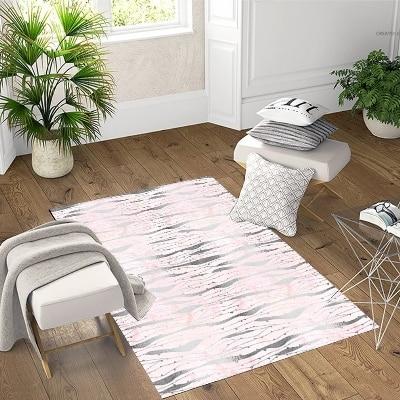 Else Pink Gray Vintage Lines Geometric  3d Pattern Print Non Slip Microfiber Living Room Decorative Modern Washable Area Rug Mat