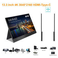 13.3 inch Ultra thin 3840*2160 4K Monitor with type-c, HDMI port ideals for PS station, switch, X-box, Respberry PI, Laptop, car