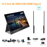 13.3 inch Ultra thin 3840*2160 4K Monitor with type c, HDMI port ideals for PS station, switch, X box, Respberry PI, Laptop, car