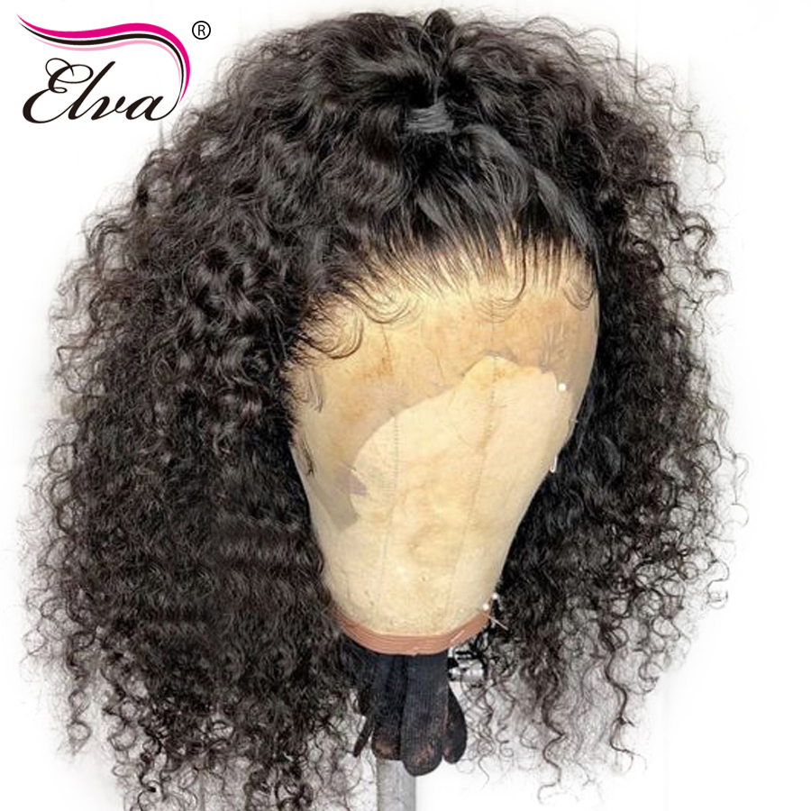 Pre Plucked Lace Front Human Hair Wigs For Women Curly Lace Front Wig With Baby Hair Bleached Knots 13x6 Elva Hair Remy Lace Wig