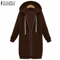 New ZANZEA 2017 Winter Autumn Women Casual Long Hoodies Sweatshirt Coat Pockets Zip Up Outerwear Hooded
