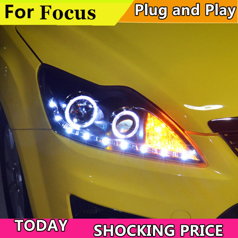 Car Styling Head Lamp for Ford Focus Headlights 2009-2011 Focus2 LED Headlight DRL H7 D2H Hid Option Angel Eye Bi Xenon Beam auto lighting style led head lamp for mazda 3 axe headlights for axela led angle eyes drl h7 hid bi xenon lens low beam
