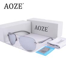 AOZE Luxury Aviator Sunglasses Polarized Men women Rimless Aluminum Magnesium Brand Designer Driving Eyewear UV400 silver