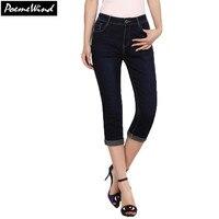 PoemeWind Plus Size Women Autumn Denim Jeans Dark Blue Solid Calf Length Pencil Pants 2017 38