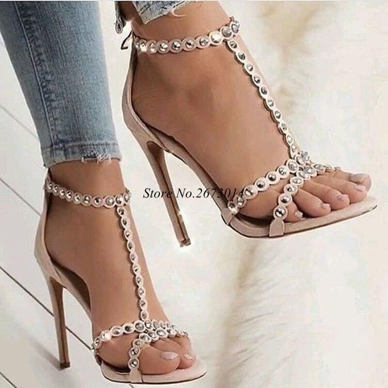 Glissière En T Talons Au Hauts Peep Sandales strap Chaussures Mince Picture Rivet Étroite Daim Bande as Picture Dos Femmes Rose Partie Toe As wPSqW