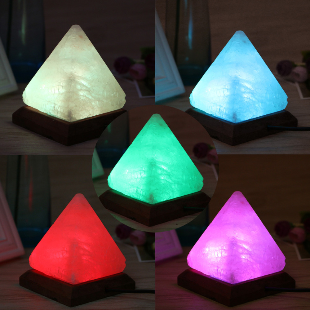 1PC Triangle Hand Carved USB Wooden Base Himalayan Crystal Rock Salt Lamp Air Purifier Night Light 7color changing usb crystal salt night light himalayan crystal rock salt table lamp portable design touch air purifier light