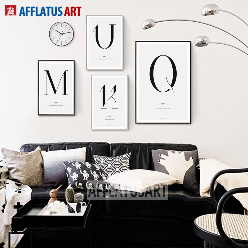 Customize Combined 26 Letters Wall Art Canvas Painting Black White Nordic Posters And Prints Pictures For Living Room Decor