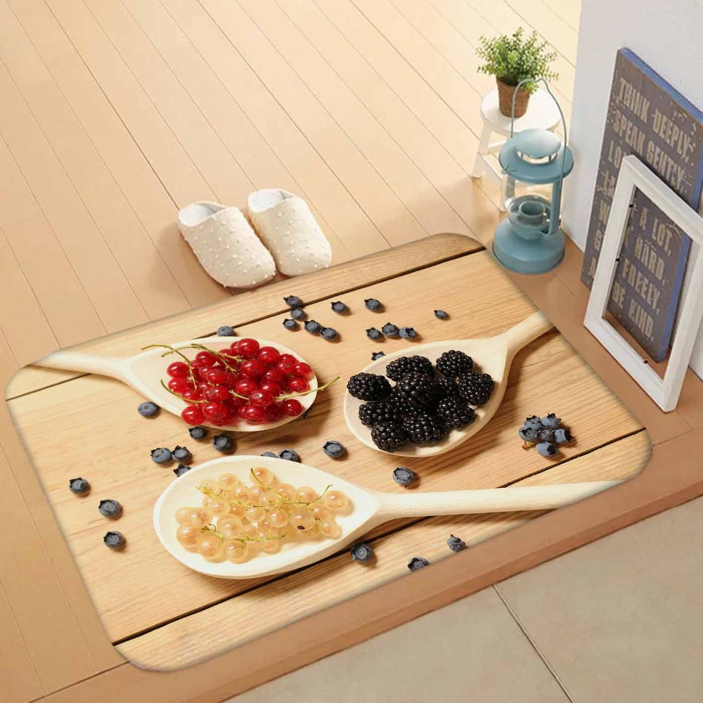 Else Yellow Wood Spoon On Red Black Brown Spices 3d Pattern Print Anti Slip Washable Doormat Home Decor Entryway Kitchen Mat