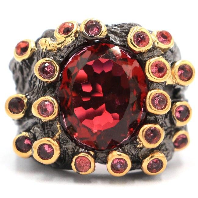 US sz 8.0# Special 16g Vintage Pink Raspberry Rhodolite Garnet Black Gold Silver Ring 25x20mm