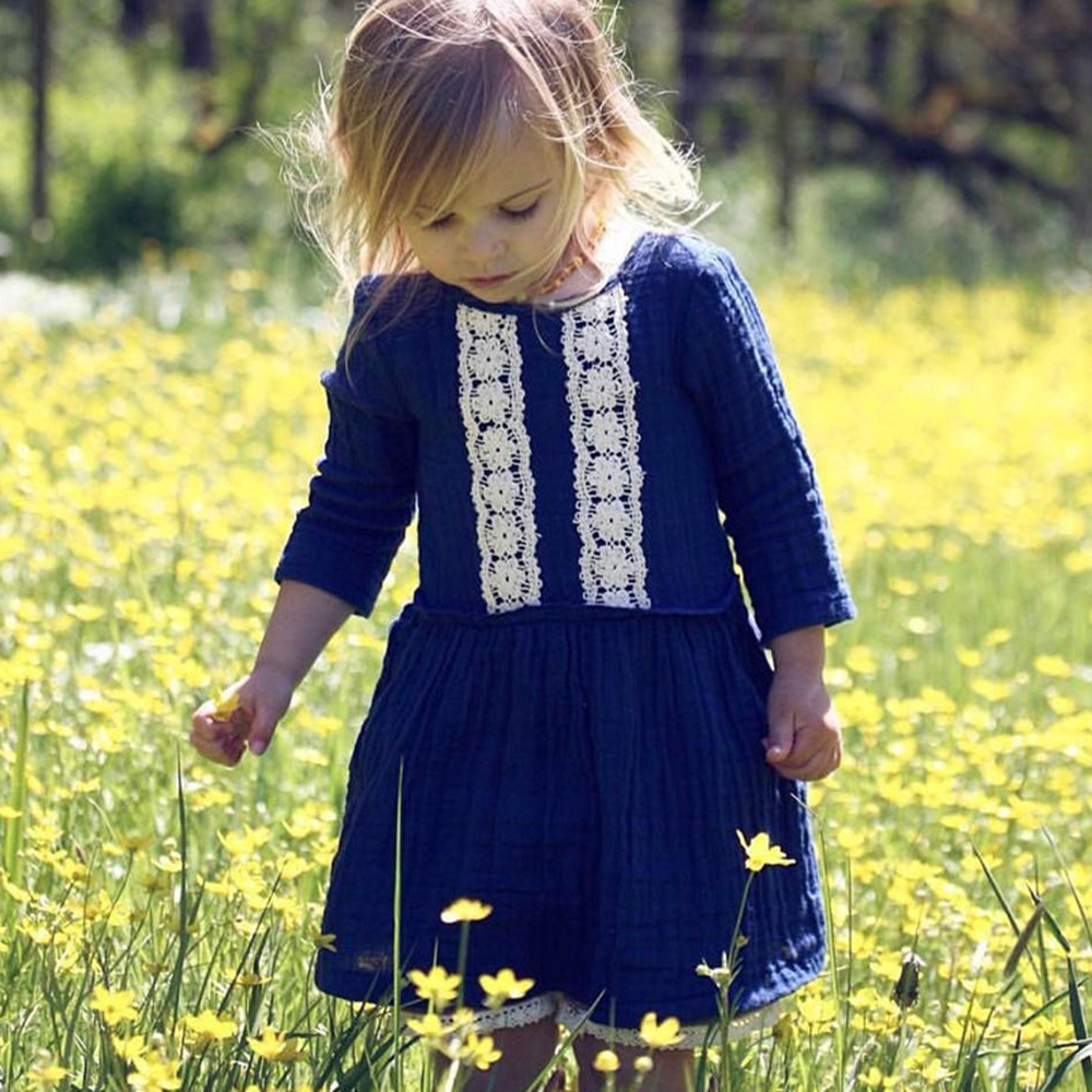 Girls' Clothing Selfless 2018 New Vintage Kid Baby Girls Dresses Long Sleeve Lace Blue Dresses For Girls Party Holiday Wedding Girls Clothing Drop Ship Outstanding Features