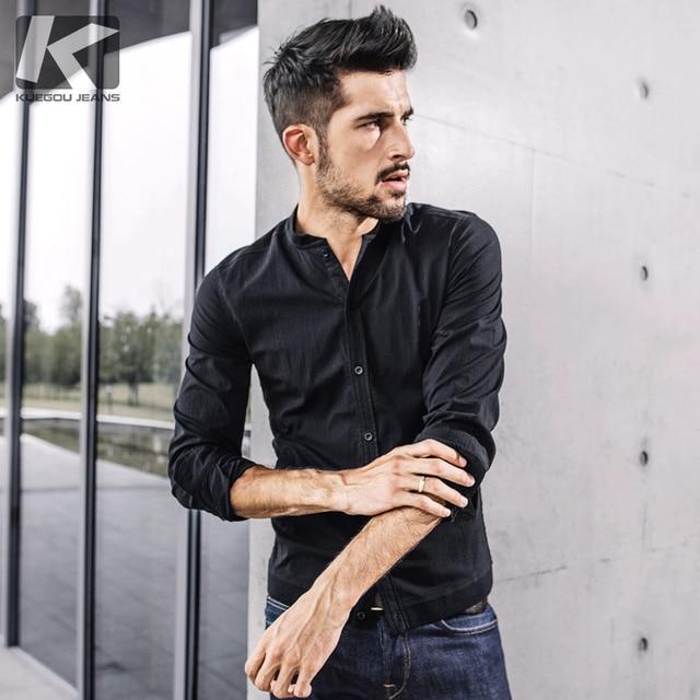277ca2cbfbe5 KUEGOU 2017 autumn new fashion men shirt casual long sleeve shirt black men  shirt brands 0791