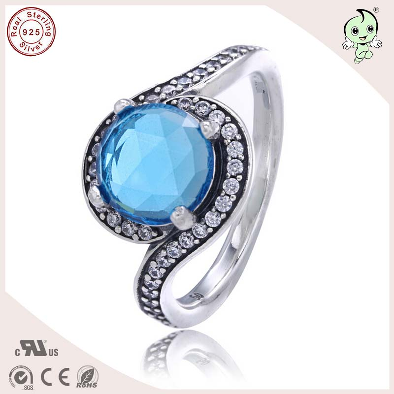 Wonderful Noble European And America Silver Jewlery Summer Collection Eye Design Blue Stone 925 Real Silver Ring