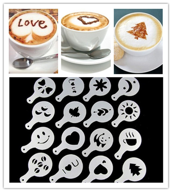 16pcs New Plastic Garland Mold Fancy Coffee Printing Model Mould Thick Cafe Foam Spray Template Barista Stencils Decoration Tool