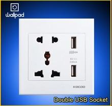цена на AU EU UK US PC White 110-250V Double USB Wall Socket Wall Socket 2 Port 5.0V USB Outlet Power Charger 3.0,Free Shipping