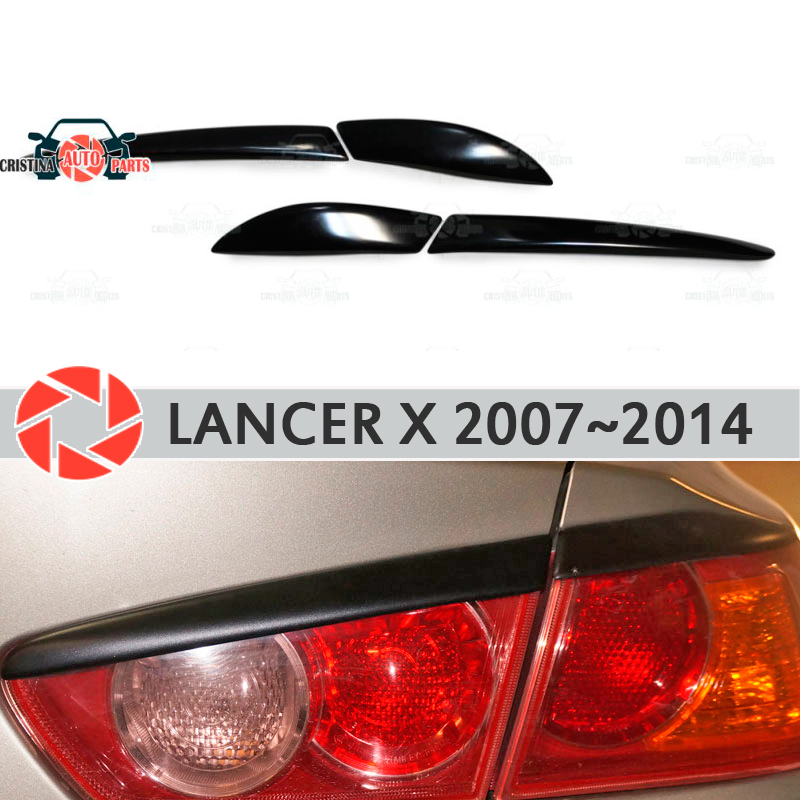 Eyebrows for Mitsubishi Lancer X 2007-2014 for rear lights cilia eyelash plastic ABS moldings trim covers car styling okeen car styling for honda crv 2009 2008 2007 tail trunk led rear bumper reflector light red lens lamp fog brake lights