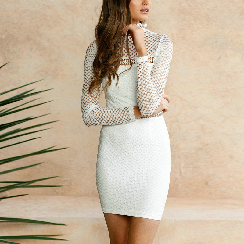Pencil Bodycon Mini Dress Women 2017 New Sexy Summer Dress Stand Collar Long Sleeve Hollow Out