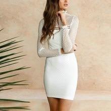 Карандаш облегающее платье мини Для женщин Новинка 2017 года пикантные летние платье Стенд воротник с длинным рукавом выдалбливают сетки женский тонкий vestidos Белый