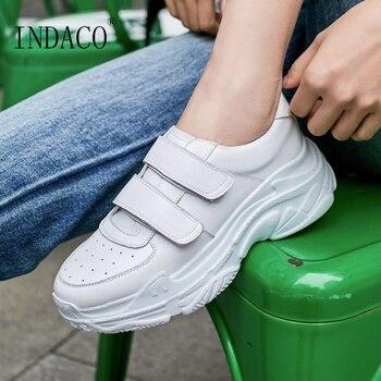 84c63667b1a Las mujeres zapatillas de deporte zapatillas de plataforma de cuero blanco  zapatillas de deporte de moda