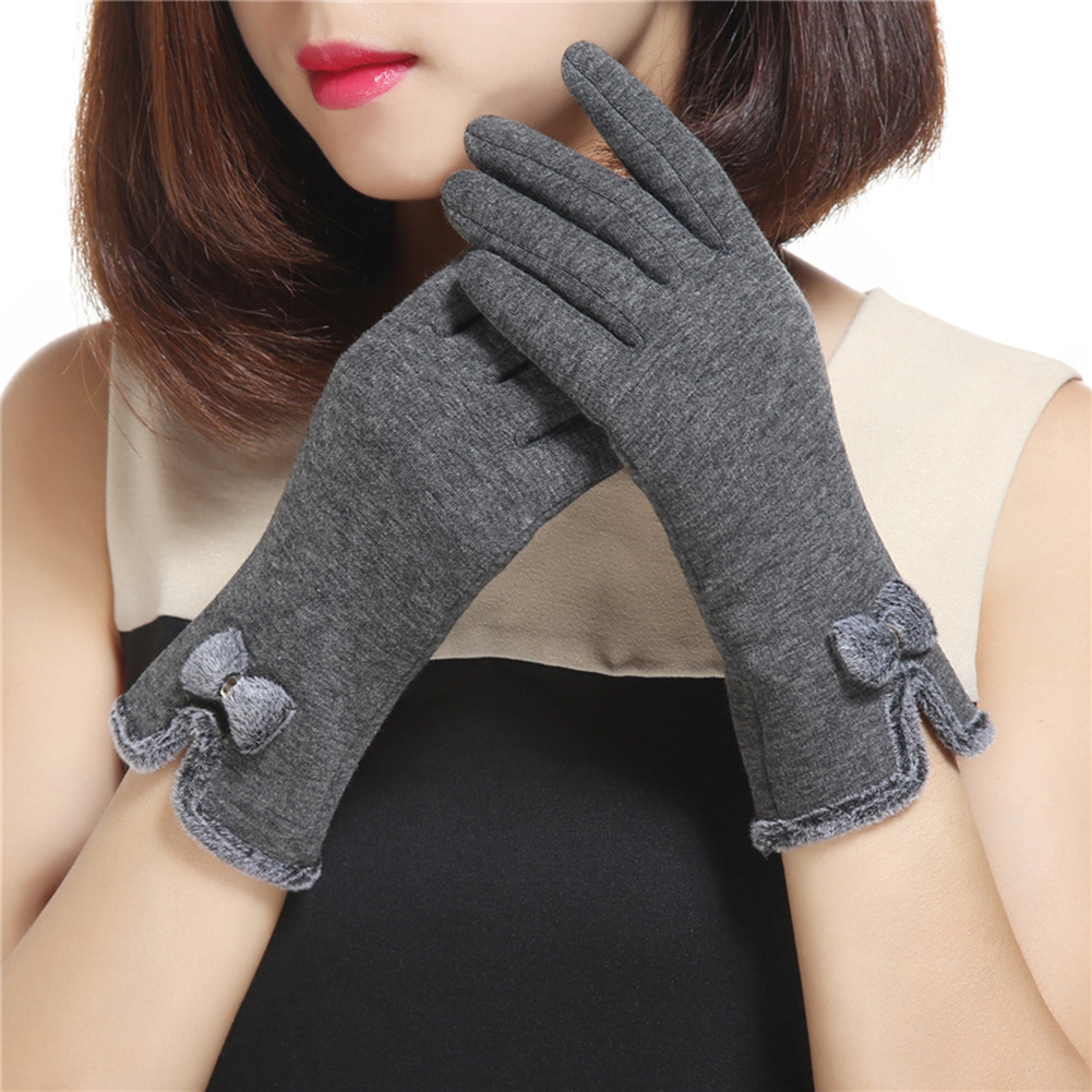 Fashion Lovely Bowknot Women Touch Screen Winter Warm Outdoor Sport Gloves Christmas Gift