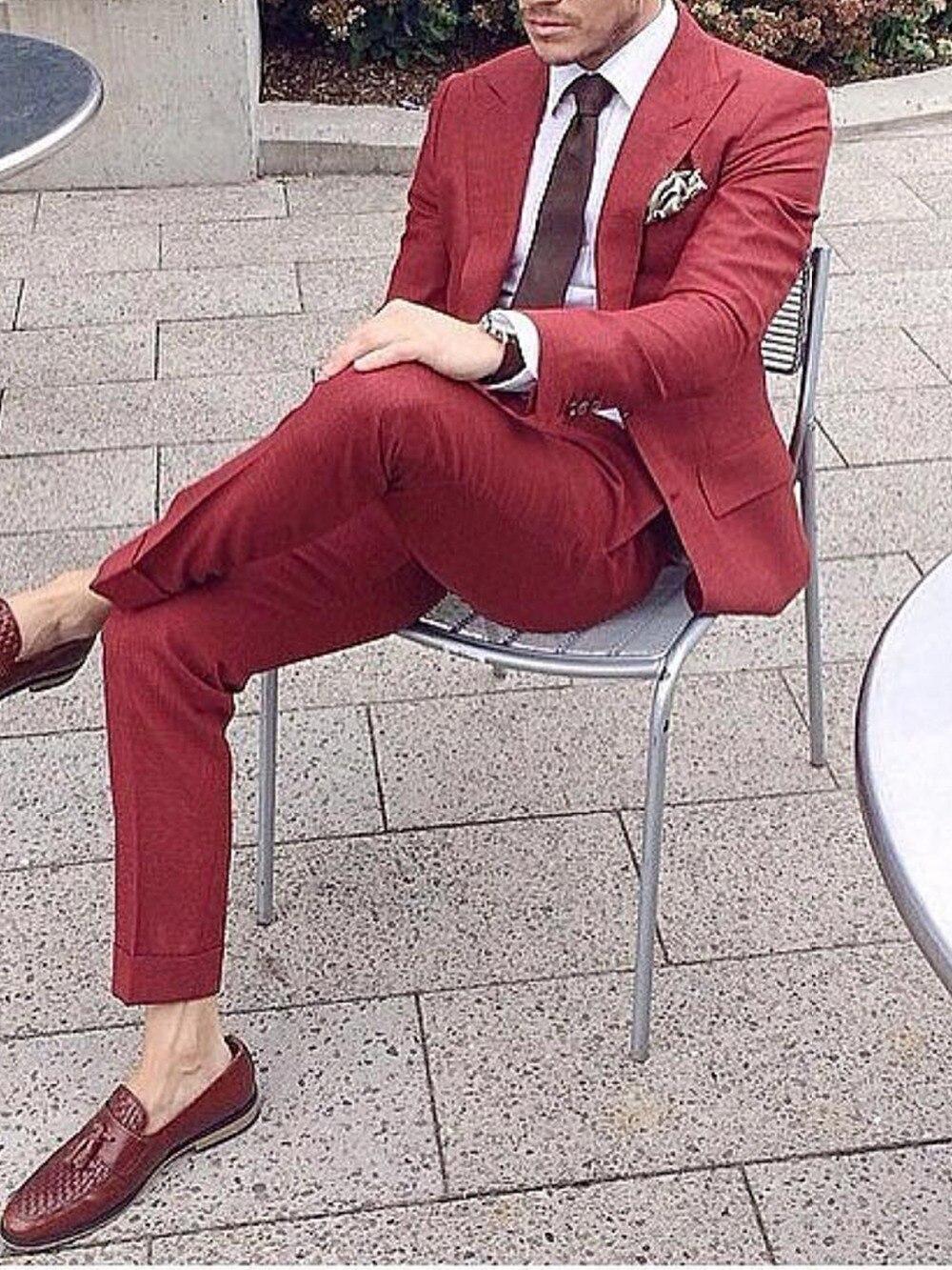 Light Burgundy Smart Casual Men Suits 2019 Fashion Design Custom Made Slim Fit Dark Red Dress Jacket Dress Pants Wedding Suits