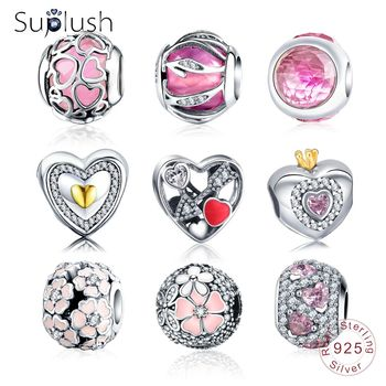 Suplush Charms Bead With 100% Authentic 925 Sterling Silver Beads Charms Fit Original Pandora Charm Bracelet Women Jewelry Gift Beads