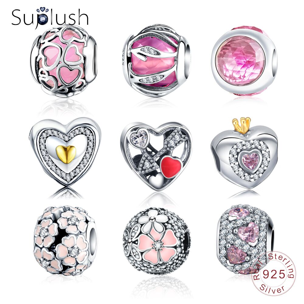 Suplush Charms Bead With 100% Authentic 925 Sterling Silver Beads Charms Fit Original Pandora Charm Bracelet Women Jewelry Gift