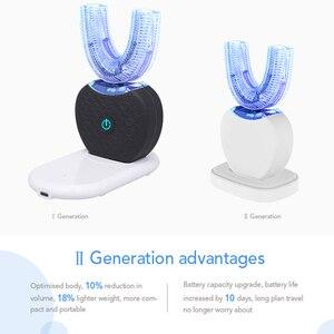 Image 4 - 새로운 360 학위 지능형 자동 Sonic 전동 칫솔 USB 충전식 울트라 sonic U 모양 4 모드 타이머 블루 라이트