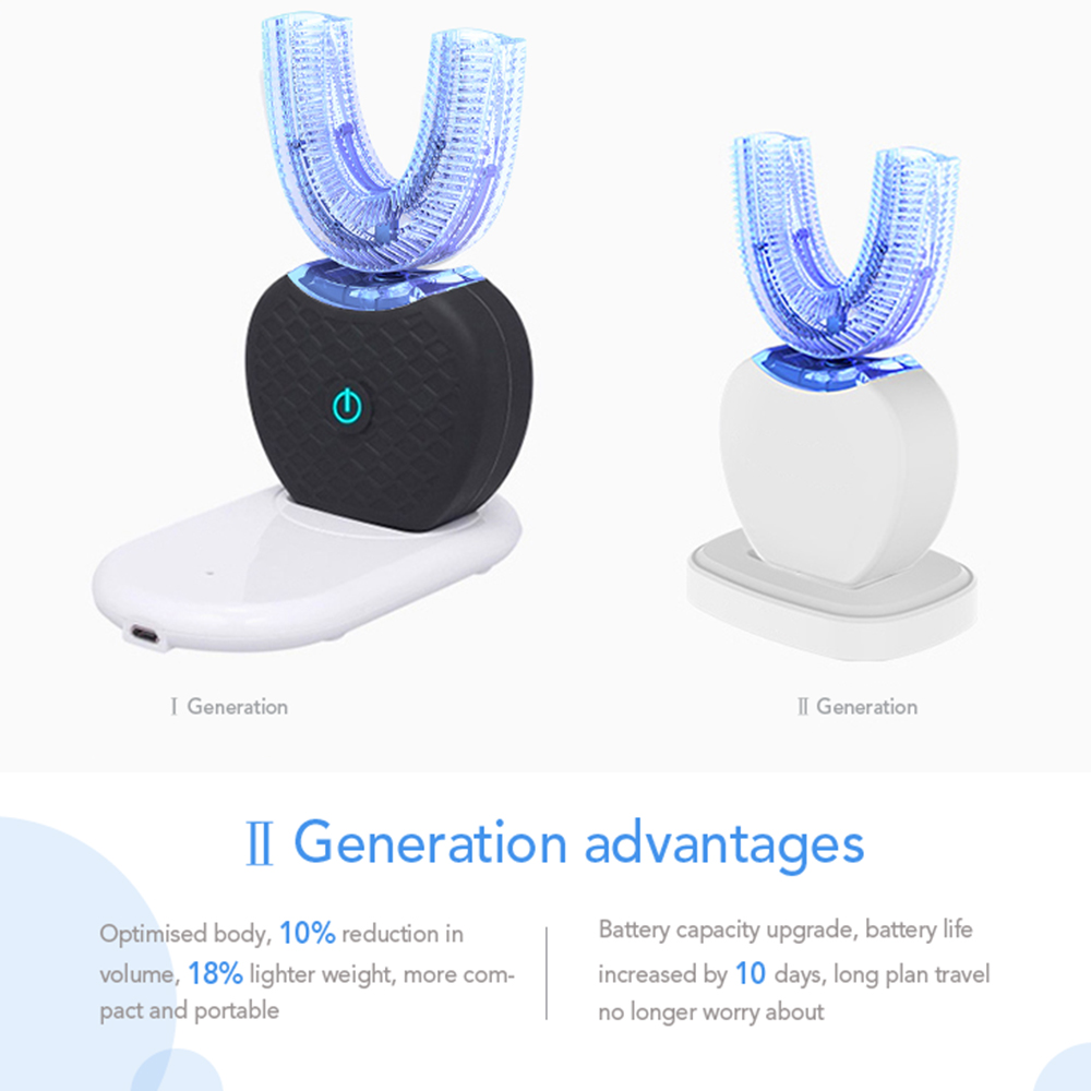New 360 Degrees Intelligent Automatic Sonic Electric Toothbrush USB Rechargeable Ultrasonic U Shape 4 Modes Timer Blue Light