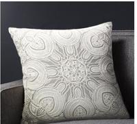 Free Shipping Pastoral Europe High Quality 100 Cotton Battenburg Lace Embroidered Handmade Gray PillowCase