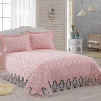 Hira luxury lace ruffle bedding set french guipure for princess wedding bedspread set super king size from Turkey