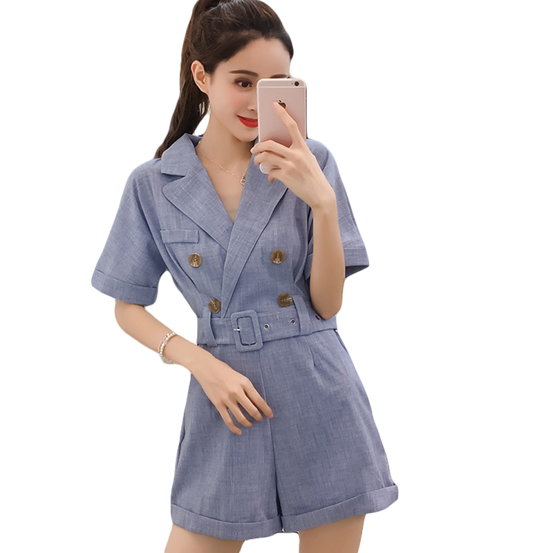 2020 Suit Rompers Women Playsuits Short Sleeve Summer Female Overalls Slim Fashion Office Lady High Waist Solid Color CM2874