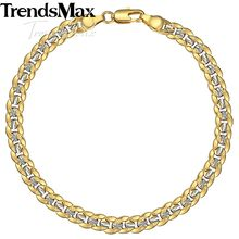 Trendsmax 6mm 20cm Men's Bracelet Gold Filled Cuban Link Chain Bracelet for Men Women Gift Jewely GB292(Hong Kong,China)