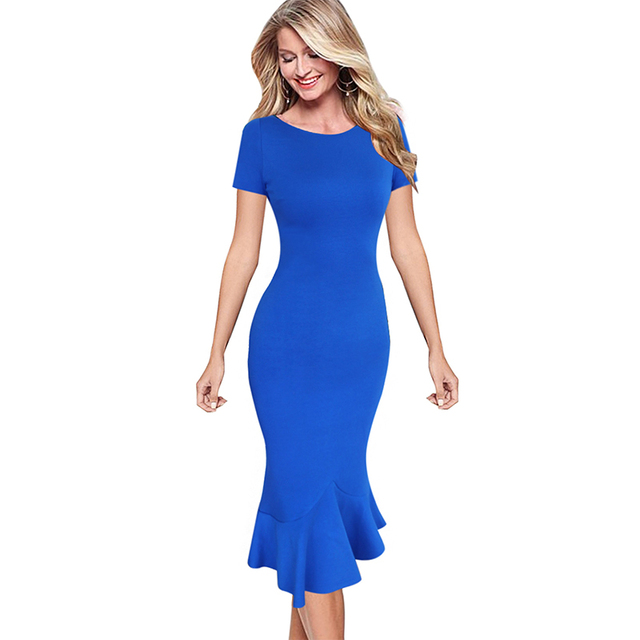d90e90915ed Vfemage Womens Elegant Vintage Summer Pinup Wear To Work Office Business  Casual Cocktail Party Fitted Bodycon Mermaid Dress 1053